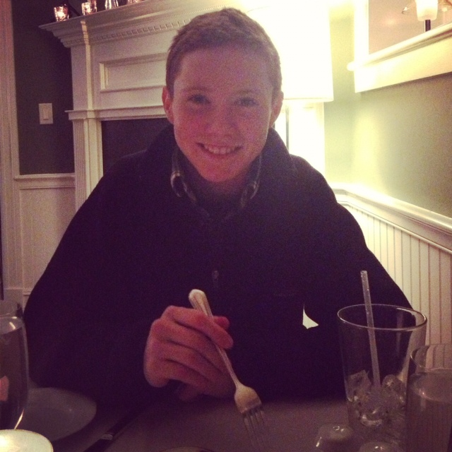 Aidan at dinner