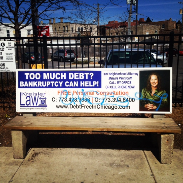 Bench advertising is a big thing in Chicago