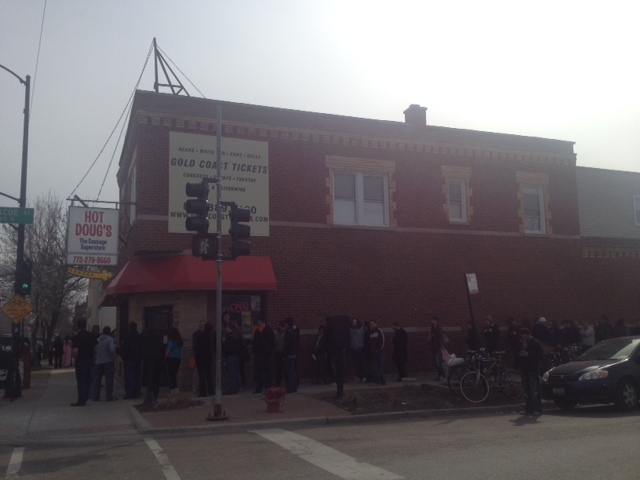 The scene outside Hot Doug's