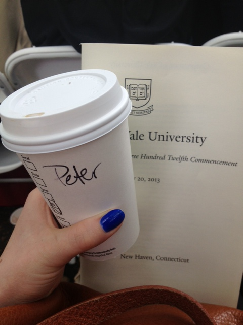 "In our seats on Old Campus. Dayton gives the name ""Peter"" at Starbucks to avoid confusion."