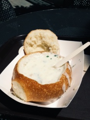 Chowder in bread bowl in SF