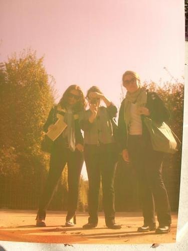katie, molly & me taking a picture in the reflection of some modern art in the gardens of versailles