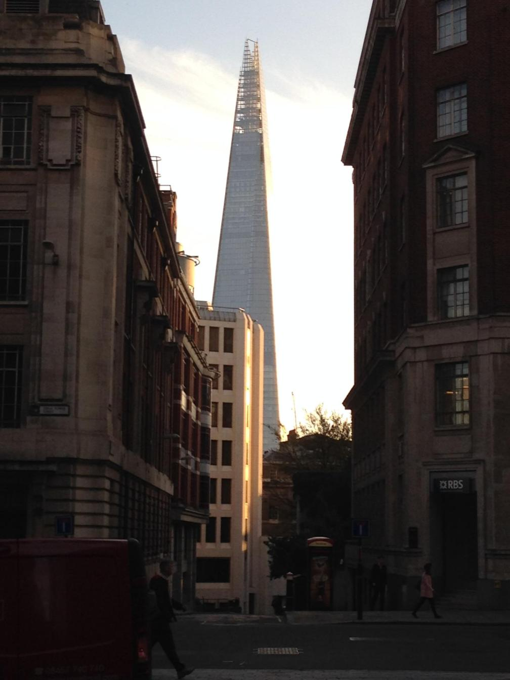 "text from my dad: ""they call this new building in the background ""the shard"", as in ""shard of glass""."
