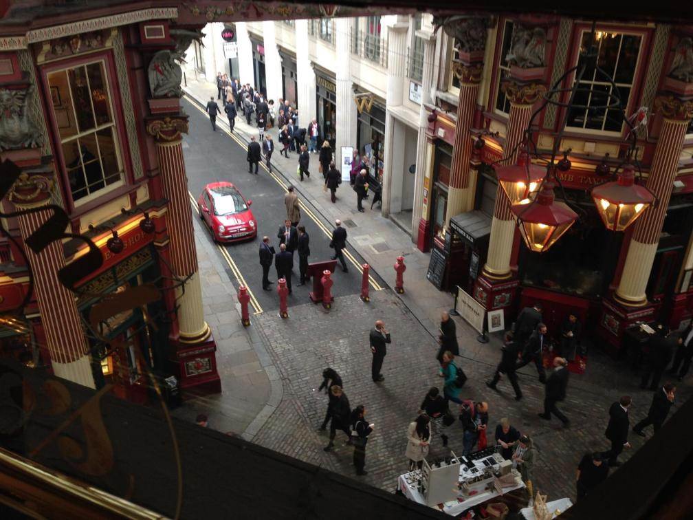 "text from my dad: ""view from restaurant where we are having lunch - looking down on leadenhall market"""