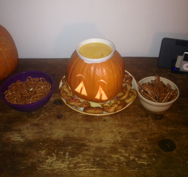 bonus: here is a photo of my roommate's beer-cheese fondue in a pumpkin, because that is something that happened last weekend