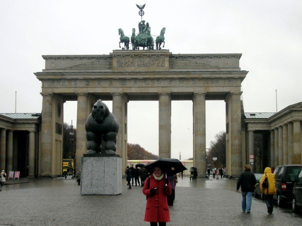 in front of the brandenburg gate