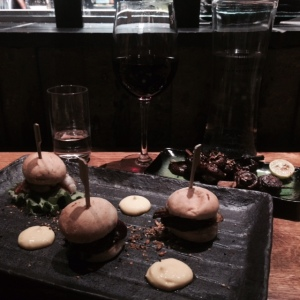 mini burgers of lobster, whale, and puffin